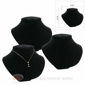 3 6 1 2 Pendant Necklace Black Velvet Neck Form Jewelry Presentation Displays