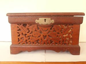 Antique Victorian Sewing Box In Walnut Hand Painted With Fretwork 9 X 5