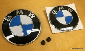 Genuine Bmw Hood Trunk Roundel Emblem Set 51148132375 51141970248 Oe New