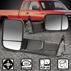 For 09 16 Dodge Ram 1500 3500 Truck Power heated Rear View Towing Mirror Pair