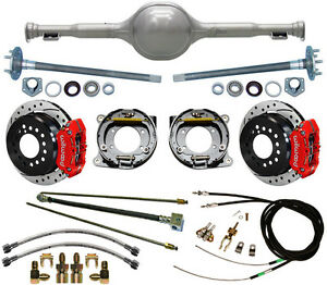 Currie Replica 64 65 Mustang Rear End Wilwood Drilled Disc Brakes red Calipers