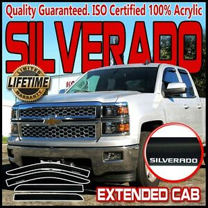 Fits 14 19 Silverado Extended Cab Side Window Rain Guards Visor Vent Deflectors