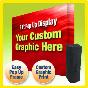 8 Ft Custom Booth Backdrop Display Pop Up Trade Show Straight