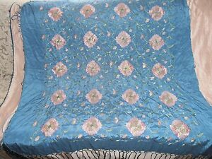 Antique Chinese Silk Embroidered Flowers Shawl Circa 1940 Beautiful Colors 42