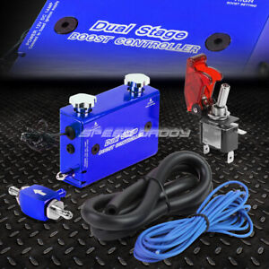 Blue Dual Stage Electronic Turbo Turbocharger Psi Boost Controller Kit W Switch