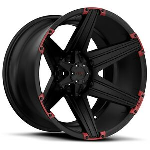 22 Inch 22x10 Tuff T12 Black Red Wheel Rim 6x135 25