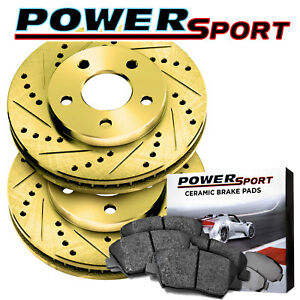 Rear Gold Drilled Slotted Brake Rotors And Ceramic Pads 2012 2016 Ford Focus