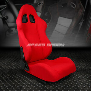 Fully Reclinable Upholstery Sports Racing Seat mount Slider Red Passenger Side