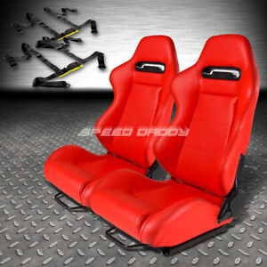 Type r Red Pvc Leather L r Racing Seats universal Slider 2x 4 point Harness Belt