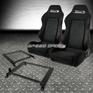 2x Suede Type r Reclinable Racing Seats low Mount Bracket For 01 05 Honda Civic