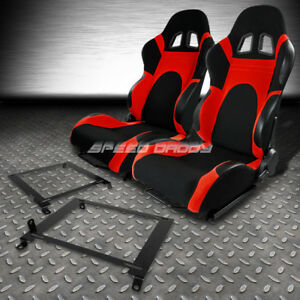 Black Red Trim Reclinable Racing Seats Low Mount Bracket For 01 05 Honda Civic