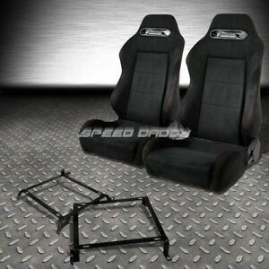 2x Suede Type r Reclinable Racing Seats bracket For 88 91 Honda Crx Dx si Ee Ef
