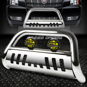Chrome Bull Bar Grille Guard Yellow Fog Light For 07 14 Suburban Tahoe Escalade