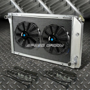 3 Row Aluminum Radiator 2x 12 Fan Kit Black For 77 82 Chevy Corvette 5 7 5 0 V8