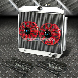 3 Row Aluminum Radiator 2x 9 Fan Red For 55 57 Chevy Small Block 150 210 Sbc V8