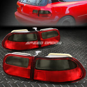 For 1992 1995 Honda Civic Eg Eh Ej Red Smoked Tail Light Rear Brake Reverse Lamp