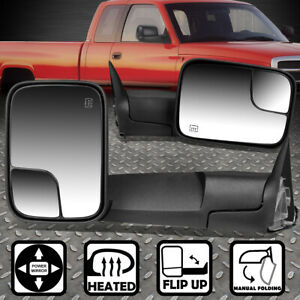 For 94 97 Dodge Ram 1500 3500 Power Heated Foldable Rear View Towing Mirror Pair