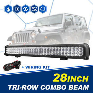 28 Tri Row Cree 900w Led Light Bar Combo Offroad Boat Driving Lamp 4wd Suv 30