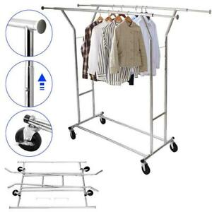 New Portable Double Garment Rack Hanger Holder Grade Adjustable Clothing Rolling