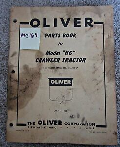 Oliver Parts Book manual For Model hg Crawler Tractor Dated 1950