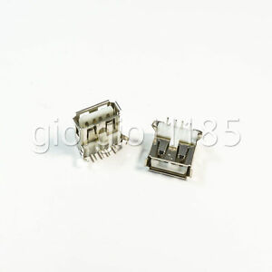Us Stock 10x Usb Type a Female 4 Pin Pcb Mount Socket Plug Connector Right Angle
