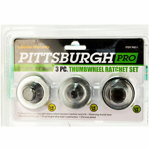Pittsburgh 94011 3 Piece Thumb Wheel Ratchet Set Reversing Thumb Lever