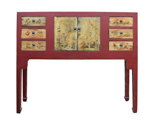 Chinese Oriental Red Graphictall Narrow Side Console Foyer Table Cs2343