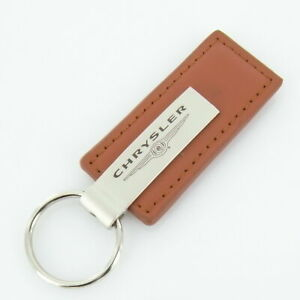 Chrysler Leather Keychain Brown