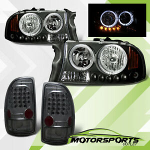 led Halo 1997 2004 Dodge Dakota Black Led Headlights smoke Brake Tail Lights