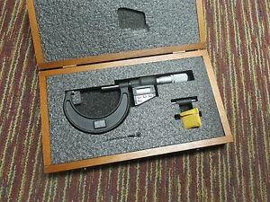 New Starrett 733xflz 3 2 3 Electronic Spc Outside Micrometer W wooden Case