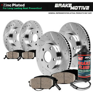 Front Rear Drill Slot Brake Rotors Ceramic Pads For Mercedes Benz C250 C300