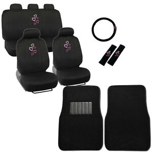 New Pink Hearts Car Front Back Seat Covers Steering Wheel Cover Floor Mats Set