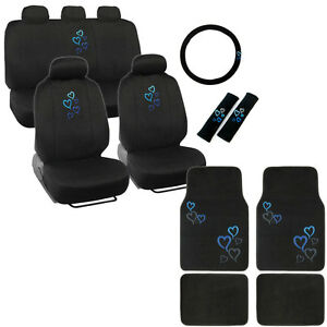 New Blue Heart Car Front Back Full Seat Covers Floor Mats Steering Wheel Cover