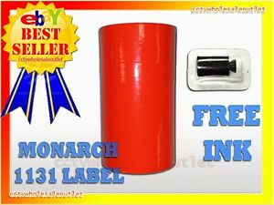 Fluorescent Red Labels For Monarch 1131 Pricing Gun 1 Sleeve 8rolls