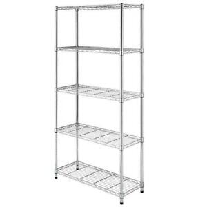 Chrome black 5 shelf Steel Wire Tier Layer Shelving 72x36x14 Storage Rack