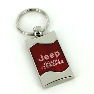 Jeep Grand Cherokee Red Spun Brushed Metal Key Ring