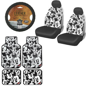 11pc Mickey Mouse Car Truck Front Seat Covers Floor Mats Steering Wheel Cover
