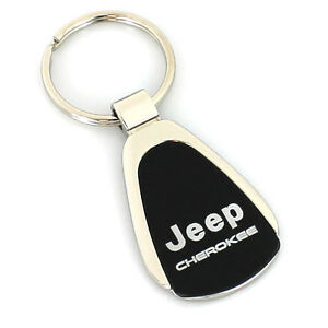 Jeep Cherokee Black Tear Drop Metal Key Ring