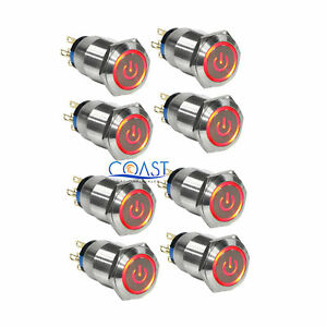 8x Durable 12v 19mm Car Push Latching Button Red Power Led Metal Switch