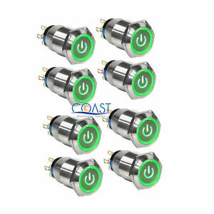 8x Durable 12v 19mm Car Push Latching Button Green Power Led Metal Switch