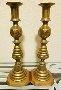 Pair Of Brass Coronation Candlestick Lamps England Signed Antique Vintage