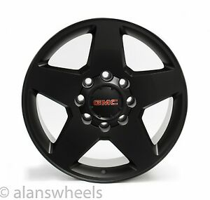 4 Gmc Sierra Hd 2500 3500 8 Lug 8x180 20 Black Wheels Rims Lugs Free Ship 5503