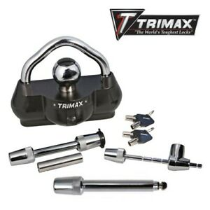 Trimax Deluxe 3 Piece Combo Trailer Lock Coupler Lock Receiver Hitch Pin Lock