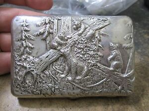 Super Rare Hand Chased Russian Hallmarked Silver Cigarette Case Bears