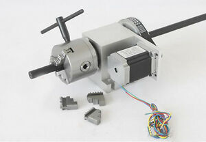 Cnc A axis 4th axis Router Table Rotary 80mm 3 Jaw Chuck Steel Milling tailstock