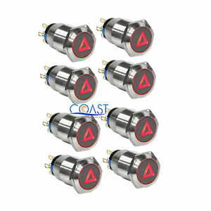8x Durable 12v 19mm Car Push Latching Button Red Hazard Warning Led Metal Switch