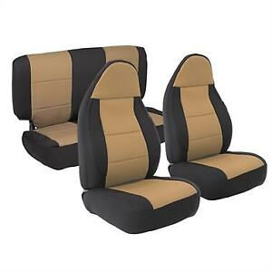 Jeep Wrangler Tj Front And Rear Neoprene Seat Covers Tan 97 02 Smittybilt 471225
