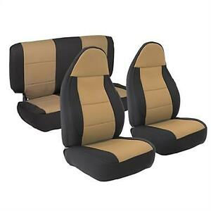 Front And Rear Neoprene Seat Covers Tan For Jeep Wrangler 1997 2002 471225