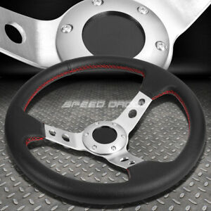 350mm 3 Deep Dish 6 bolt Silver Racing Steering Wheel Red Stitching horn Button