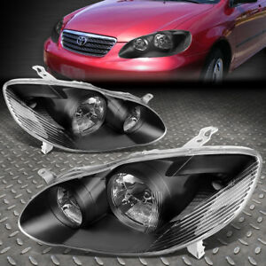 For 2003 2008 Toyota Corolla Pair Black Housing Clear Side Headlight Lamp Set